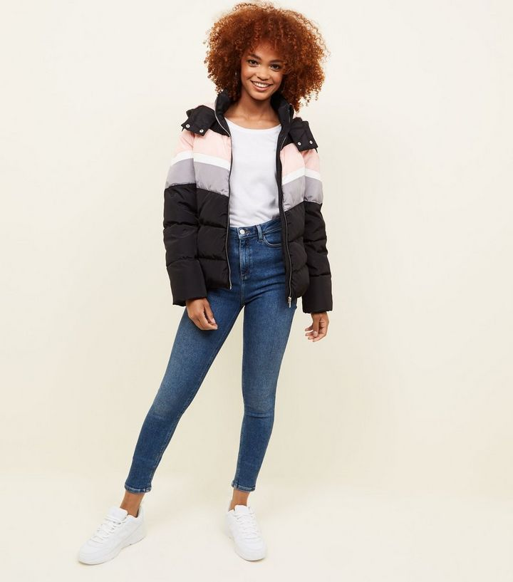 2614afcff Black Colour Block Puffer Jacket