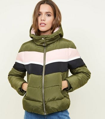 Olive Green Colour Block Puffer Jacket