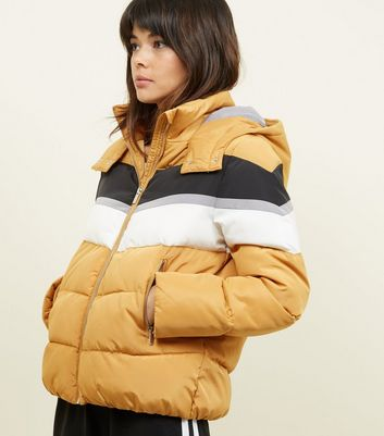 Mustard Colour Block Puffer Jacket