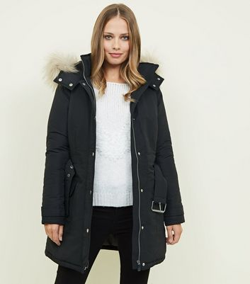 Black Faux Fur Hood Belted Parka Jacket
