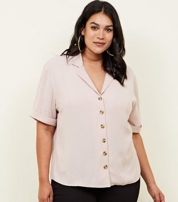 Curves Pale Pink Revere Collar Boxy Shirt