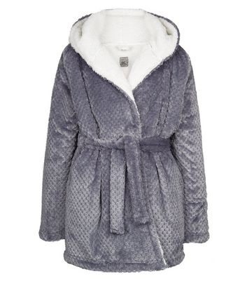 Girls Pale Grey Waffle Borg Lined Dressing Gown New Look