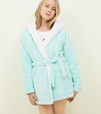 Girls Mint Green Waffle Borg Lined Dressing Gown