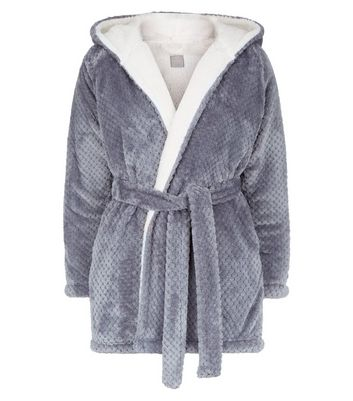 Pale Grey Waffle Borg Lined Dressing Gown New Look