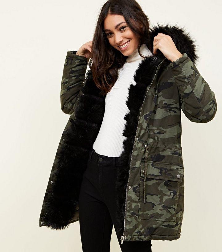 640f7f322 Khaki Camo Detachable Faux Fur Trim Parka | New Look