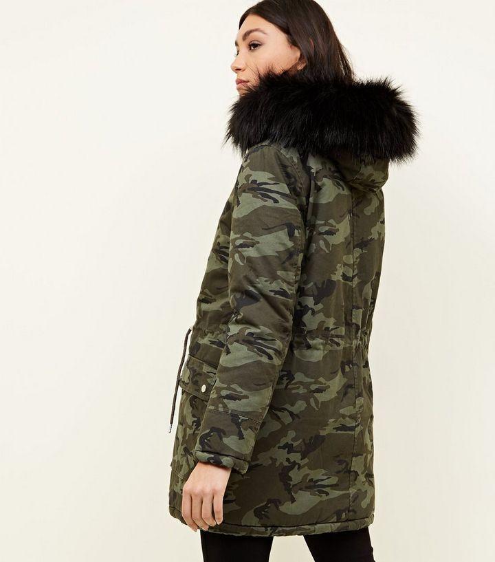 Khaki Camo Detachable Faux Fur Trim Parka  caa41da8ba