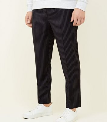 Navy Pin Stripe Pull -On Trousers