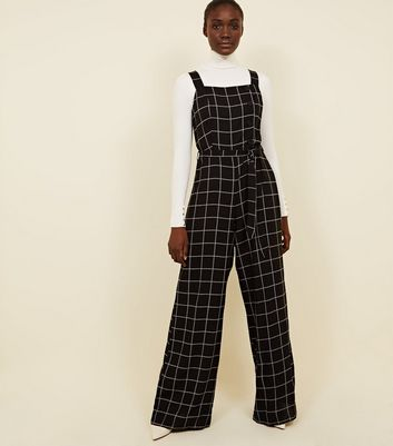 Tall Black Grid Check Button Side Jumpsuit