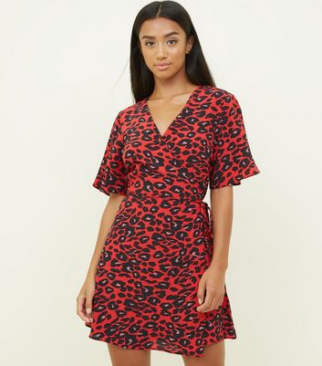 Petite Red Leopard Print Wrap Dress