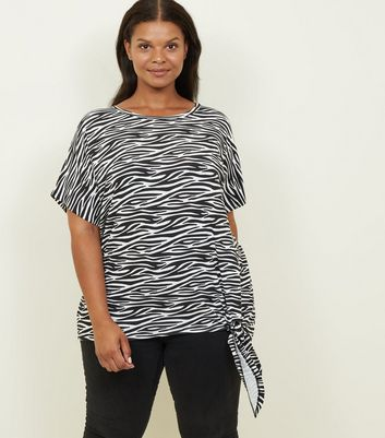 Curves Black Zebra Print Tie Side T-Shirt