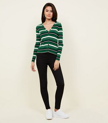 Green Multi Stripe Ribbed Cardigan