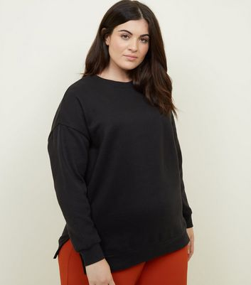 Curves Black Side Split Slouchy Sweatshirt