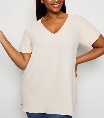 Curves Off White Tiered Sleeve Tunic Top