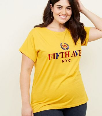 Curves Mustard Fifth Avenue NYC Slogan T-Shirt