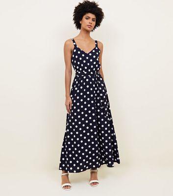 robe longue bleue pois