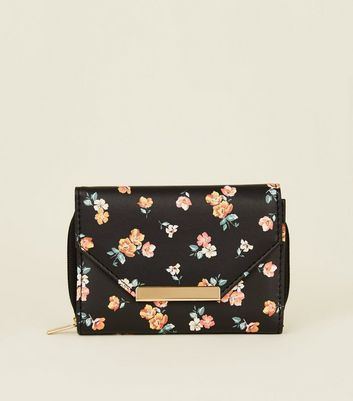 Black Floral Small Flap Front Purse