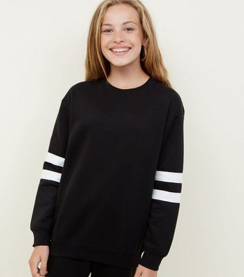Girls Black Stripe Sleeve Longline Sweatshirt