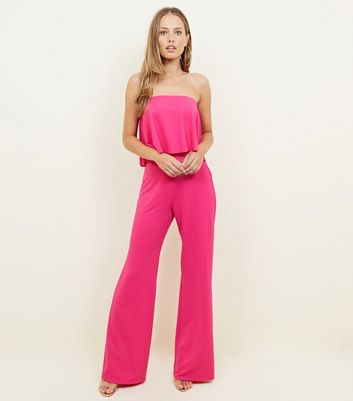 Bright Pink Frill Bandeau Crepe Jumpsuit