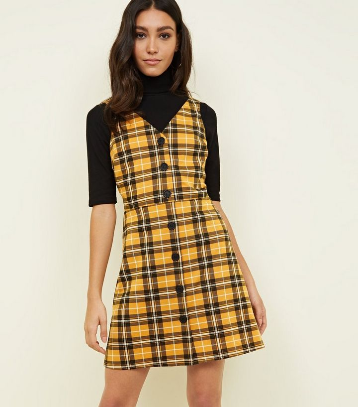 3d5f5ef30f Yellow Check Button Through Pinafore Dress