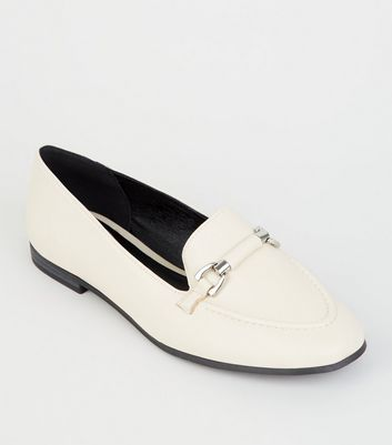 Off White Leather-Look Bar Front Loafers