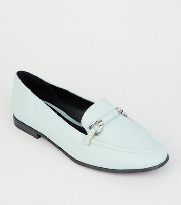 Mint Green Leather-Look Bar Front Loafer