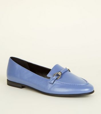 Light Purple Leather-Look Bar Front Loafers