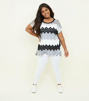 Blue Vanilla Curves Light Grey Chevron Crochet T-Shirt New Look