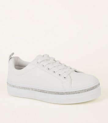 White Diamanté Trim Flatform Trainers