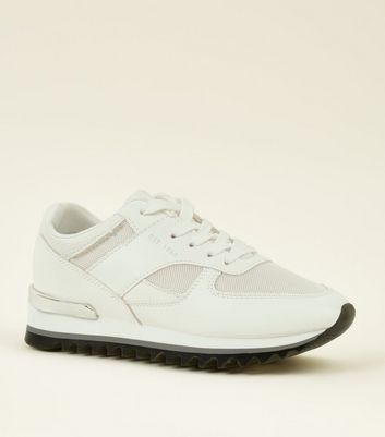 White Metal Back Cleated Sole Trainers