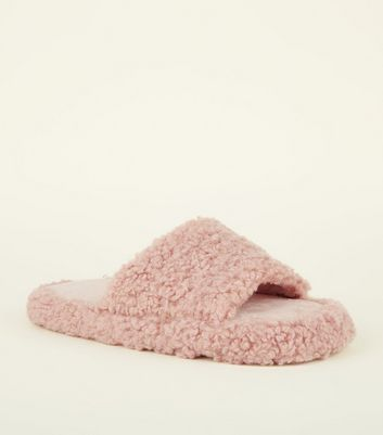 Pink Teddy Slider Slippers