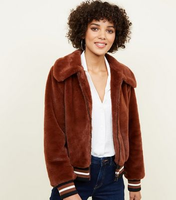 Rust Faux Fur Bomber Jacket