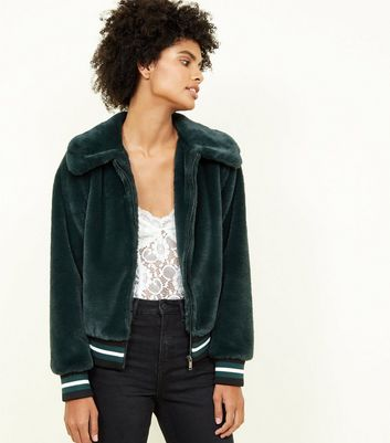 Dark Green Faux Fur Bomber Jacket