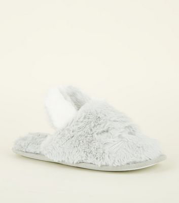Grey Fluffy Bunny Mule Slippers