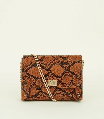 Tan Faux Snake Chain Strap Cross Body Bag