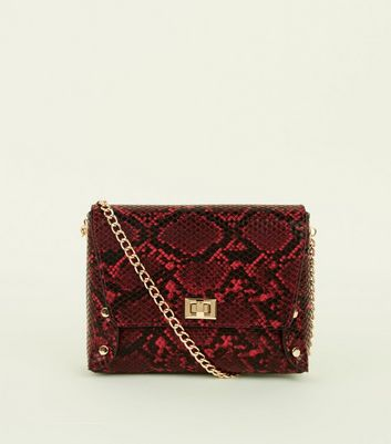 Red Faux Snakeskin Chain Strap Cross Body Bag