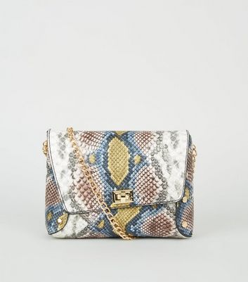 Multicoloured Faux Snake Chain Strap Cross Body Bag