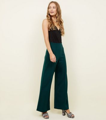 Dark Green Pintuck Wide Leg Party Trousers