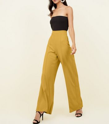 Yellow Pintuck Wide Leg Trousers