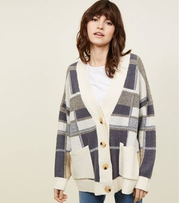 Cream Check Oversized Cardigan