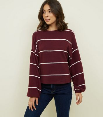 Burgundy Stripe Brushed Fine Knit Balloon Sleeve Top