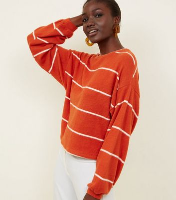 Orange Stripe Brushed Fine Knit Balloon Sleeve Top