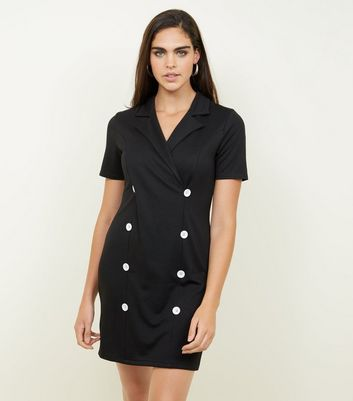 Black Double Breasted Short Sleeve Dress