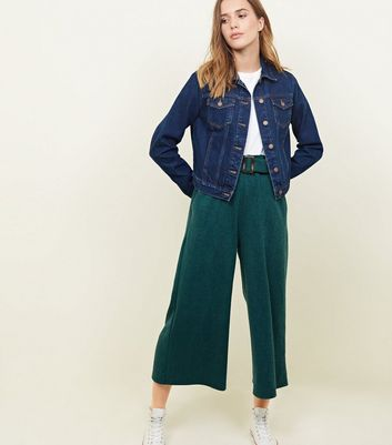 Dark Green Cross Hatch Belted Wide Leg Trousers