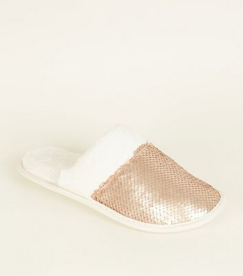 Rose Gold Sequin Fluffy Slippers