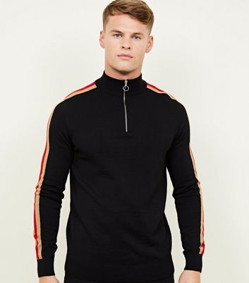 Black Stripe Red Sleeve Zip Funnel T-Shirt