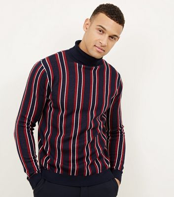 Navy Vertical Stripe Roll Neck Jumper