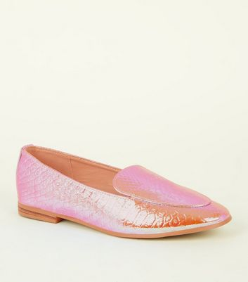Multicoloured Holographic Faux Snakeskin Loafers