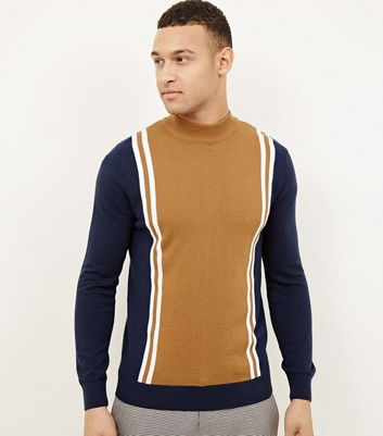Navy Vertical Stripe Funnel Neck Jumper