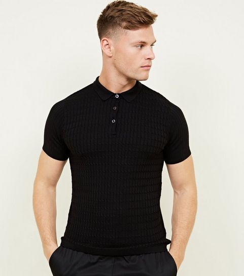 black cable knit shot sleeve polo new look