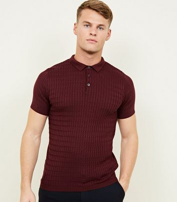 Burgundy Cable Knit Short Sleeve Polo